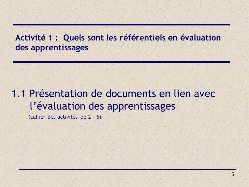 5 Activité 1 : Quels sont les référentiels en évaluation des apprentissages 1.1 Présentation de documents en lien avec lévaluation des apprentissages