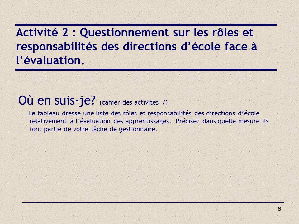 6 Activité 2 : Questionnement sur les rôles et responsabilités des directions décole face à lévaluation. Où en suis-je? (cahier des activités 7) Le ta