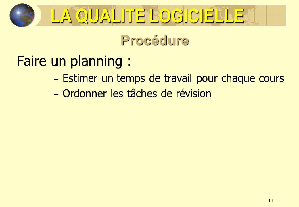11 LA QUALITE LOGICIELLE Procédure Faire un planning : – Estimer un temps de travail pour chaque cours – Ordonner les tâches de révision