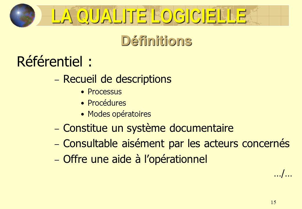 15 LA QUALITE LOGICIELLE Définitions Référentiel : – Recueil de descriptions Processus Procédures Modes opératoires – Constitue un système documentair