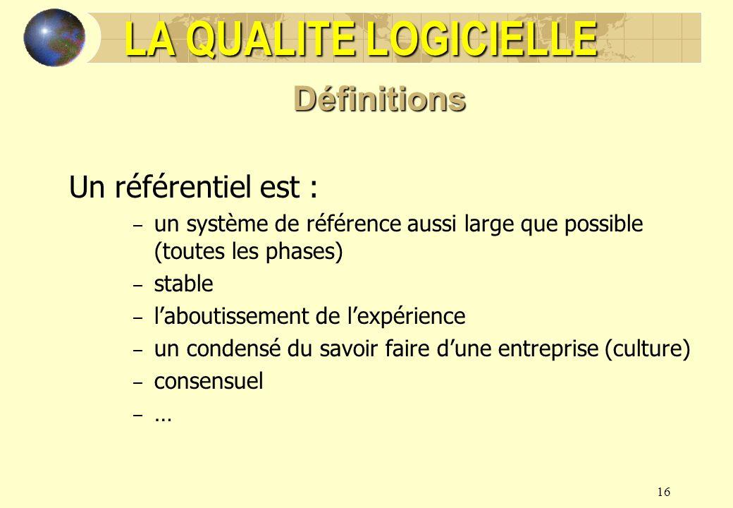 16 Un référentiel est : – un système de référence aussi large que possible (toutes les phases) – stable – laboutissement de lexpérience – un condensé