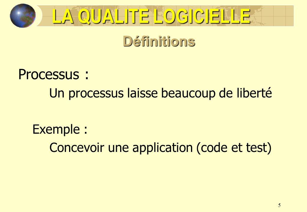 5 Processus : Un processus laisse beaucoup de liberté Exemple : Concevoir une application (code et test) LA QUALITE LOGICIELLE Définitions