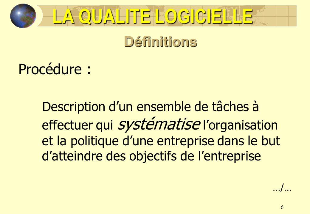 6 Procédure : Description dun ensemble de tâches à effectuer qui systématise lorganisation et la politique dune entreprise dans le but datteindre des