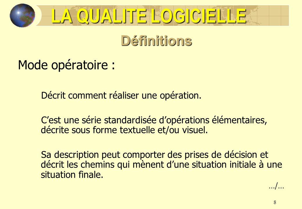 9 Mode opératoire : Il sapparente à un guide utilisateur Le mode opératoire doit être suivi à la lettre Exemple : Mode opératoire de Test Director LA QUALITE LOGICIELLE Définitions