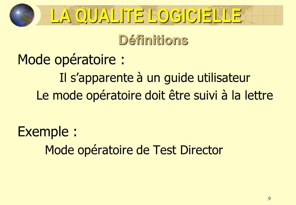 9 Mode opératoire : Il sapparente à un guide utilisateur Le mode opératoire doit être suivi à la lettre Exemple : Mode opératoire de Test Director LA