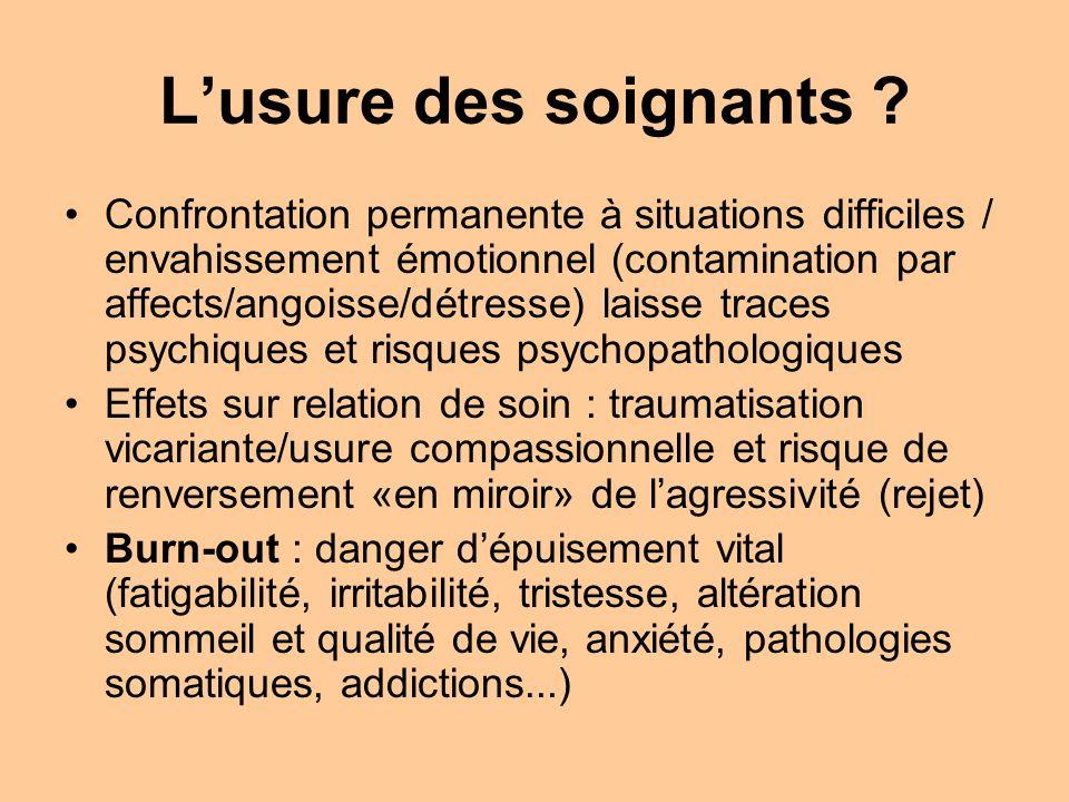 Lusure des soignants ? Confrontation permanente à situations difficiles / envahissement émotionnel (contamination par affects/angoisse/détresse) laiss