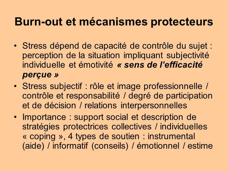 Burn-out et mécanismes protecteurs Stress dépend de capacité de contrôle du sujet : perception de la situation impliquant subjectivité individuelle et