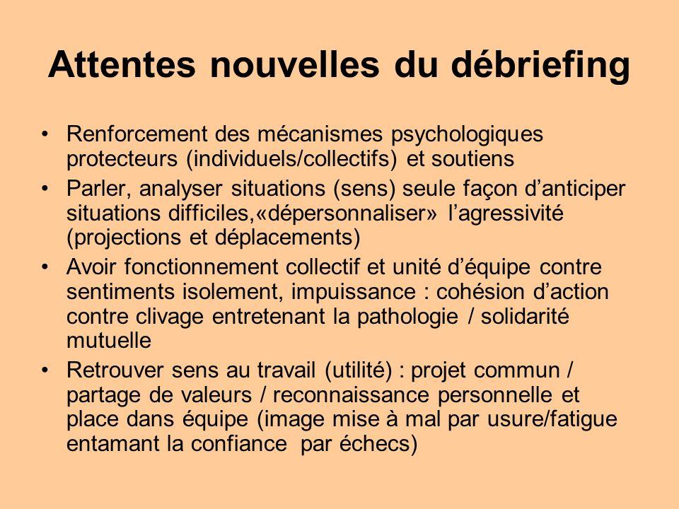 Attentes nouvelles du débriefing Renforcement des mécanismes psychologiques protecteurs (individuels/collectifs) et soutiens Parler, analyser situatio