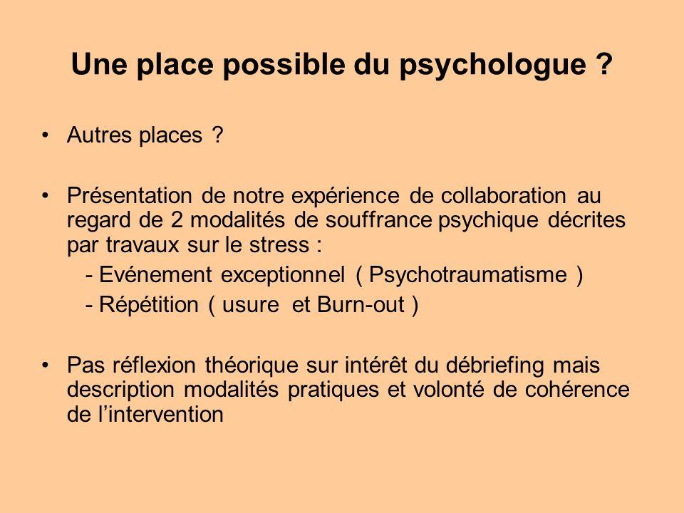 Une place possible du psychologue ? Autres places ? Présentation de notre expérience de collaboration au regard de 2 modalités de souffrance psychique