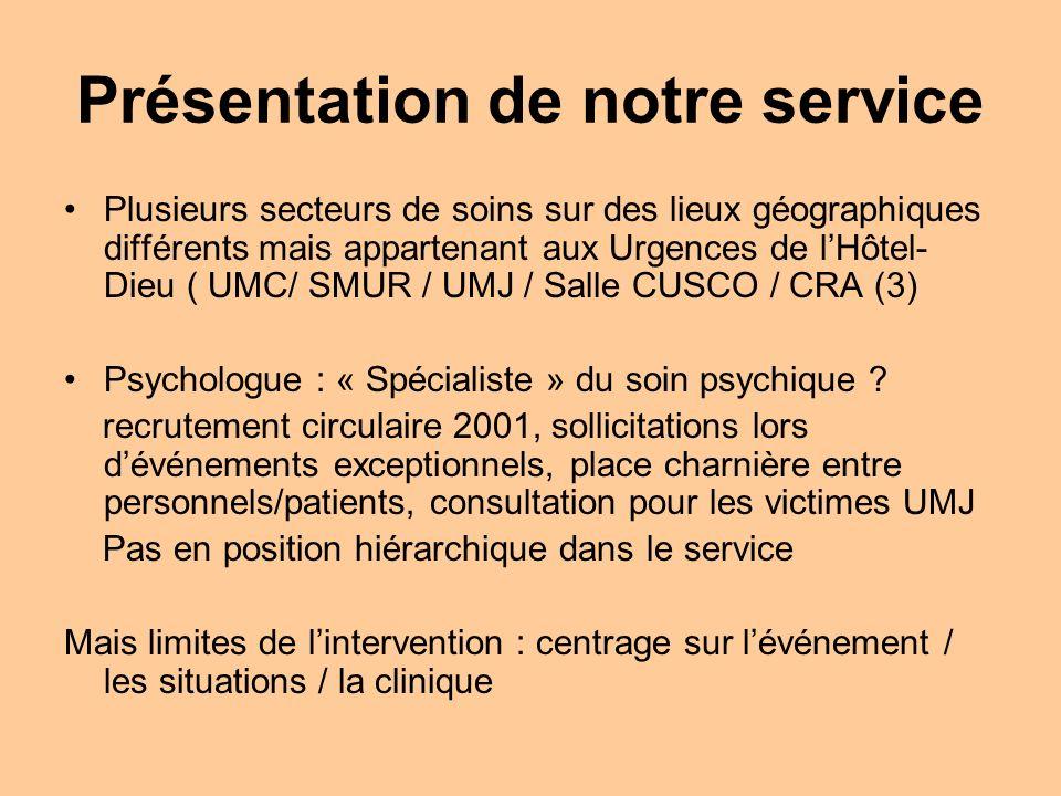 Présentation de notre service Plusieurs secteurs de soins sur des lieux géographiques différents mais appartenant aux Urgences de lHôtel- Dieu ( UMC/ SMUR / UMJ / Salle CUSCO / CRA (3) Psychologue : « Spécialiste » du soin psychique .