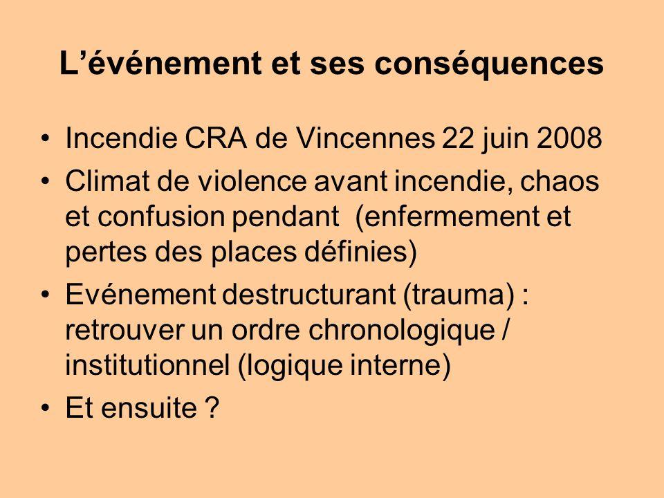 Lévénement et ses conséquences Incendie CRA de Vincennes 22 juin 2008 Climat de violence avant incendie, chaos et confusion pendant (enfermement et pe
