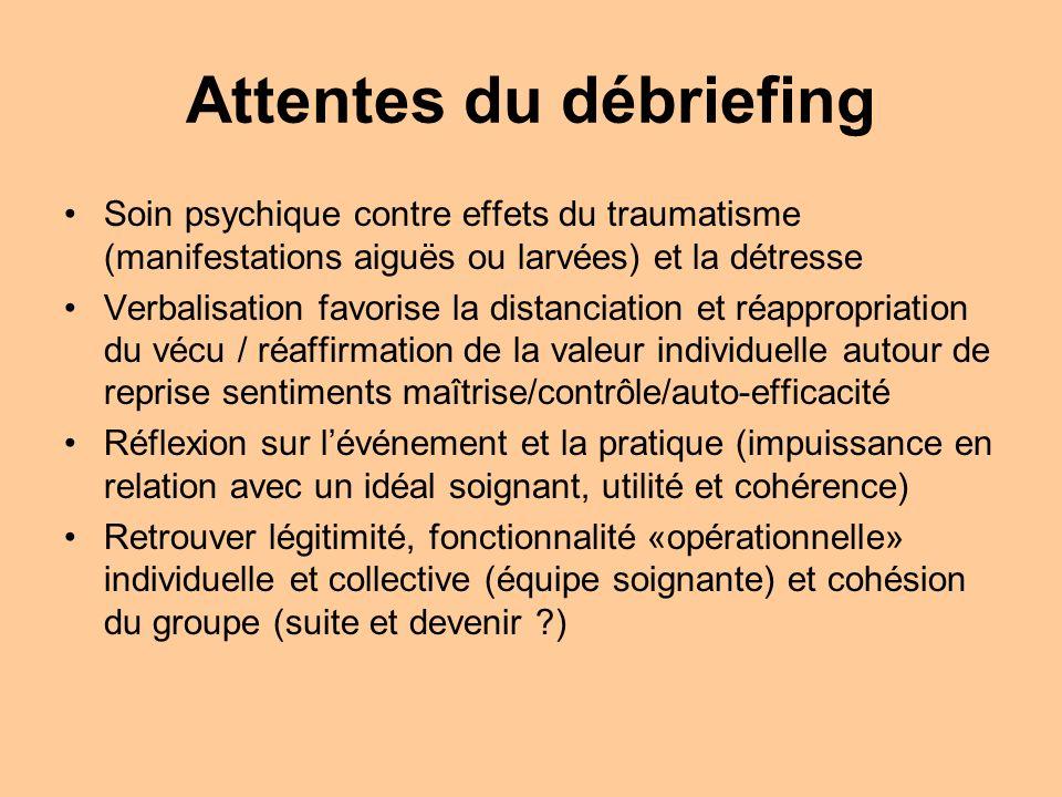 Attentes du débriefing Soin psychique contre effets du traumatisme (manifestations aiguës ou larvées) et la détresse Verbalisation favorise la distanc