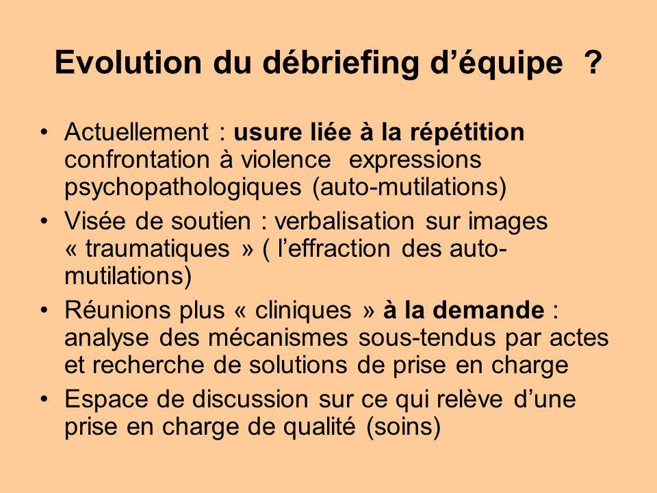 Evolution du débriefing déquipe ? Actuellement : usure liée à la répétition confrontation à violence expressions psychopathologiques (auto-mutilations