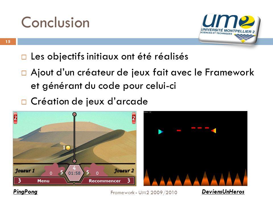 Conclusion Framework - UM2 2009/2010 15 Les objectifs initiaux ont été réalisés Ajout dun créateur de jeux fait avec le Framework et générant du code