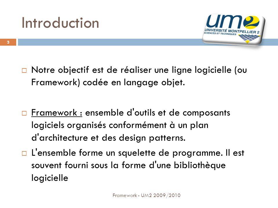 Introduction (2) Framework - UM2 2009/2010 4 Contraintes: Lutilisateur doit créer un petit jeu en quelques lignes en étendant nos classes Utilisation des jeux via le web ou en local quelques soient: Le navigateur Le système dexploitation Mise en pratique de nos cours dUML afin de bénéficier dune bonne architecture pour nos classes