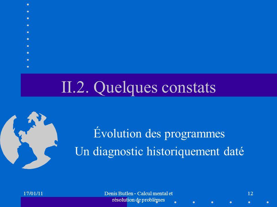 17/01/11Denis Butlen - Calcul mental et résolution de problèmes 12 II.2. Quelques constats Évolution des programmes Un diagnostic historiquement daté