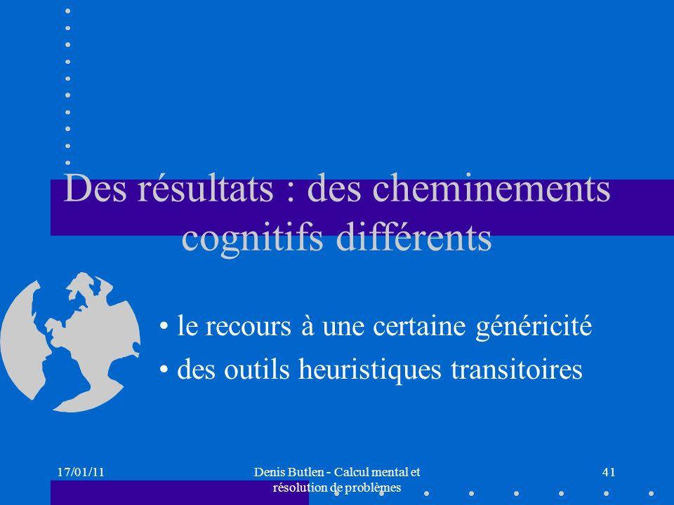 17/01/11Denis Butlen - Calcul mental et résolution de problèmes 41 Des résultats : des cheminements cognitifs différents le recours à une certaine gén