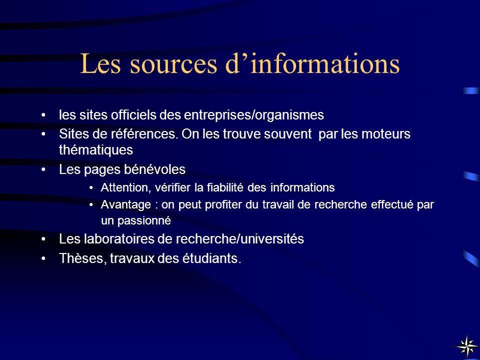 Les sources dinformations les sites officiels des entreprises/organismes Sites de références. On les trouve souvent par les moteurs thématiques Les pa