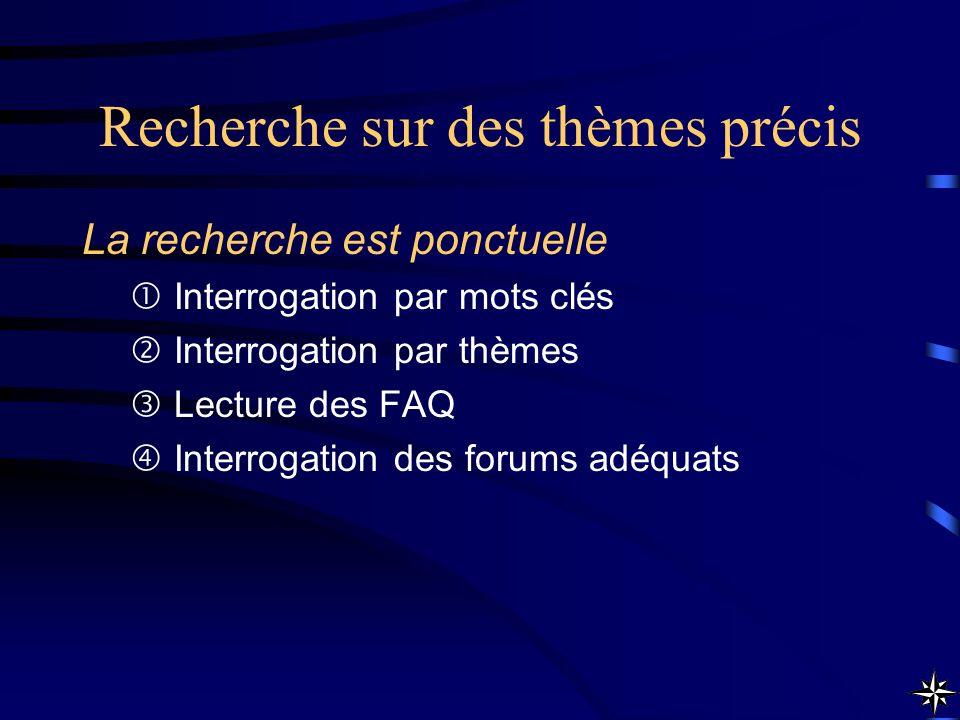 Recherche sur des thèmes précis La recherche est ponctuelle Interrogation par mots clés Interrogation par thèmes Lecture des FAQ Interrogation des for