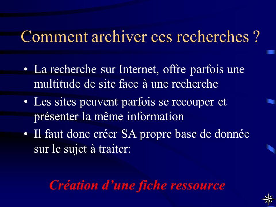 Comment archiver ces recherches ? La recherche sur Internet, offre parfois une multitude de site face à une recherche Les sites peuvent parfois se rec
