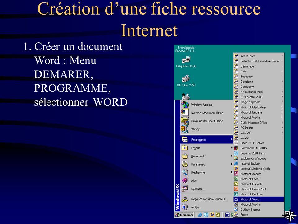 Création dune fiche ressource Internet 1. Créer un document Word : Menu DEMARER, PROGRAMME, sélectionner WORD