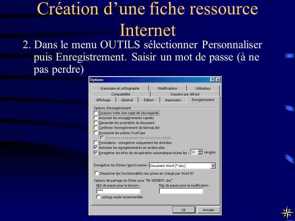 Création dune fiche ressource Internet 2. Dans le menu OUTILS sélectionner Personnaliser puis Enregistrement. Saisir un mot de passe (à ne pas perdre)