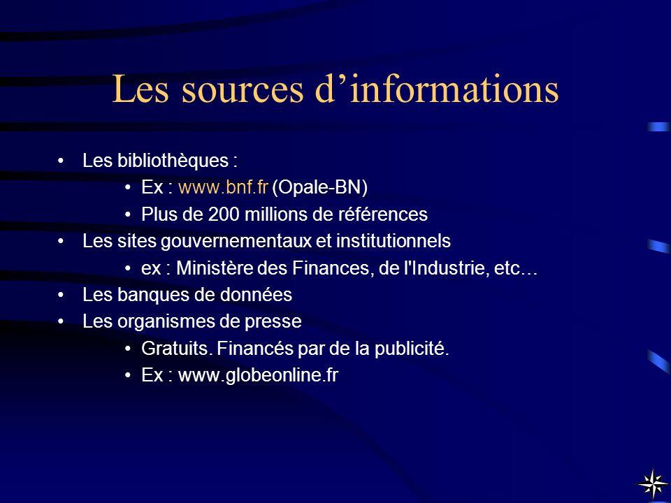 Les sources dinformations Les bibliothèques : Ex : www.bnf.fr (Opale-BN) Plus de 200 millions de références Les sites gouvernementaux et institutionne