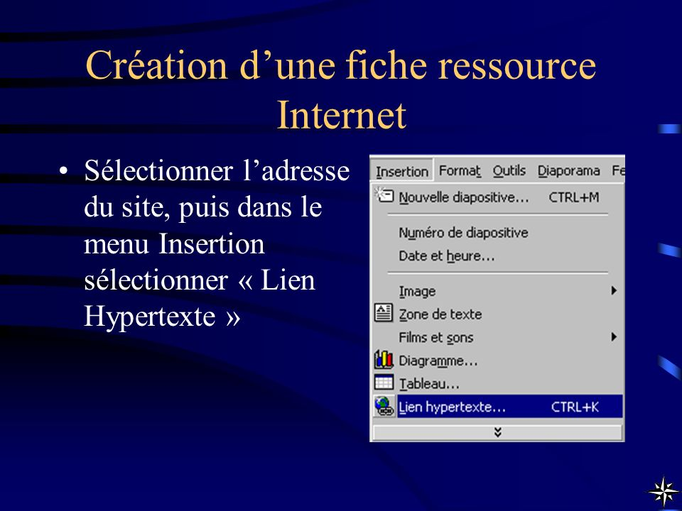 Création dune fiche ressource Internet Sélectionner ladresse du site, puis dans le menu Insertion sélectionner « Lien Hypertexte »