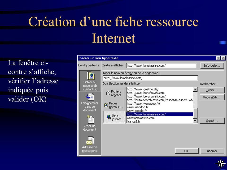 Création dune fiche ressource Internet La fenêtre ci- contre saffiche, vérifier ladresse indiquée puis valider (OK)