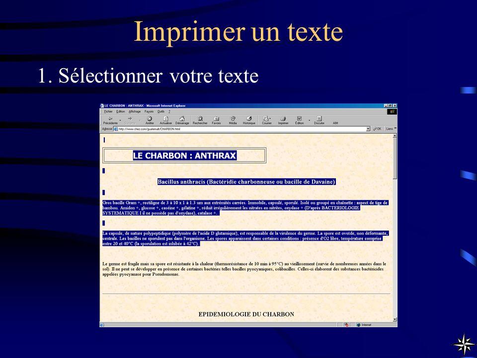 Imprimer un texte 1. Sélectionner votre texte