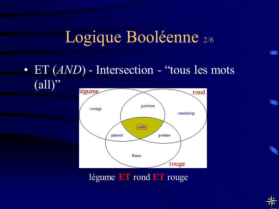 Logique Booléenne 2/6 ET (AND) - Intersection - tous les mots (all) légume ET rond ET rouge