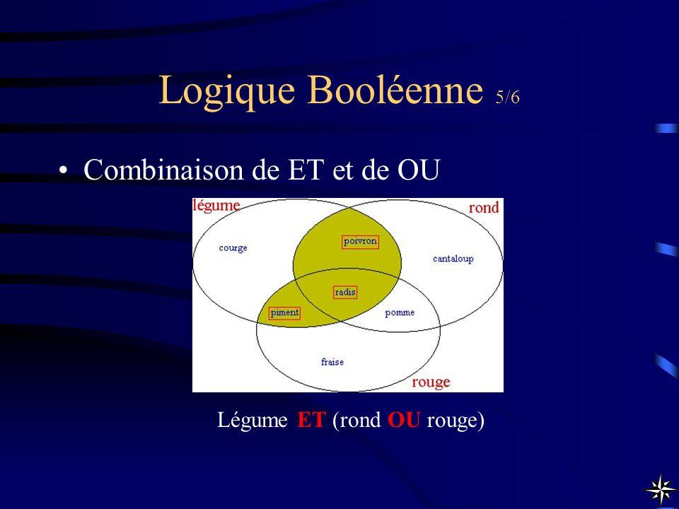 Logique Booléenne 5/6 Combinaison de ET et de OU Légume ET (rond OU rouge)
