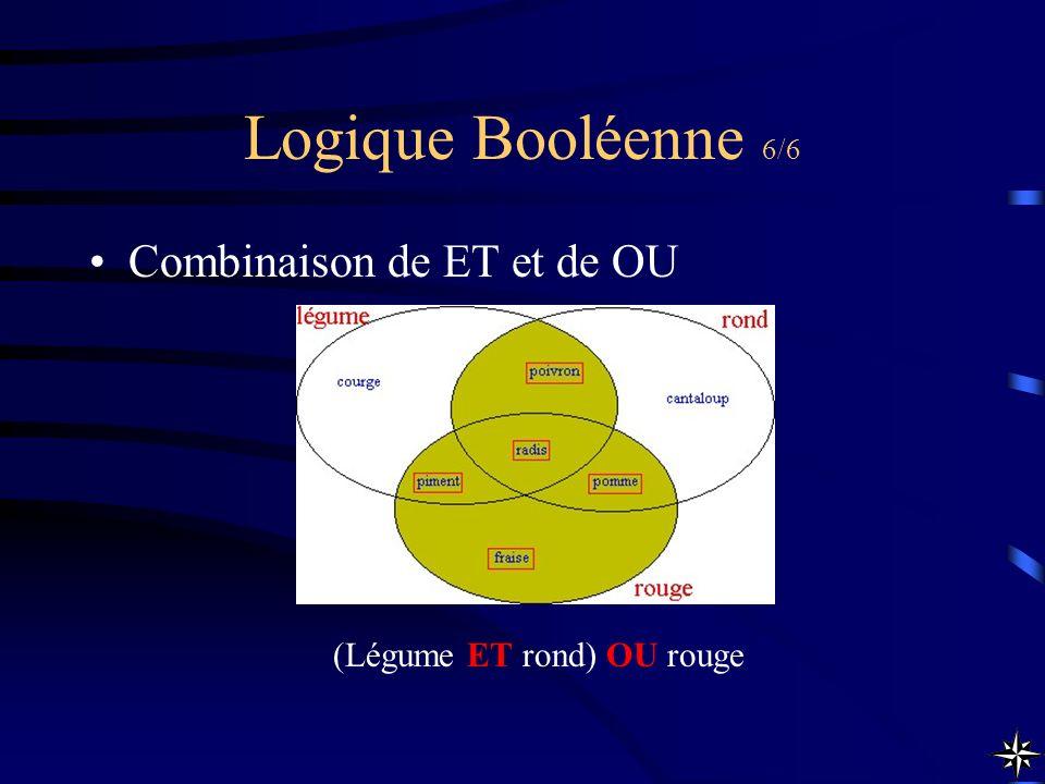 Logique Booléenne 6/6 Combinaison de ET et de OU (Légume ET rond) OU rouge