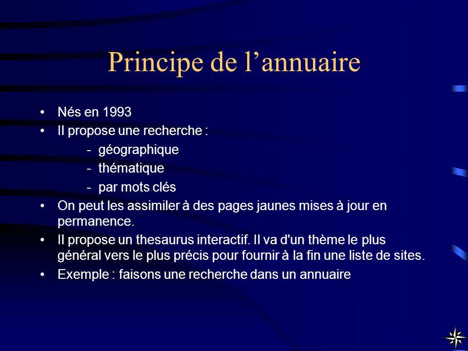 Principe de lannuaire Nés en 1993 Il propose une recherche : -géographique -thématique -par mots clés On peut les assimiler à des pages jaunes mises à