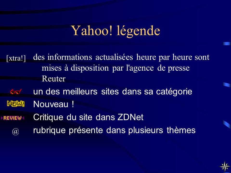 Yahoo! légende des informations actualisées heure par heure sont mises à disposition par l'agence de presse Reuter un des meilleurs sites dans sa caté