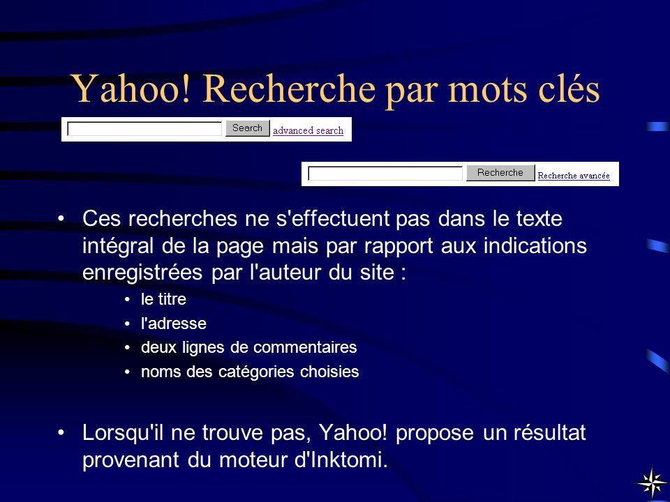 Yahoo! Recherche par mots clés Ces recherches ne s'effectuent pas dans le texte intégral de la page mais par rapport aux indications enregistrées par