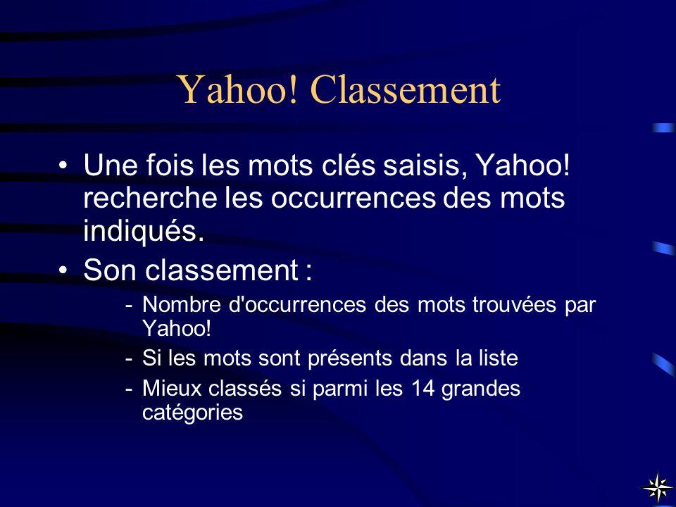 Yahoo! Classement Une fois les mots clés saisis, Yahoo! recherche les occurrences des mots indiqués. Son classement : -Nombre d'occurrences des mots t