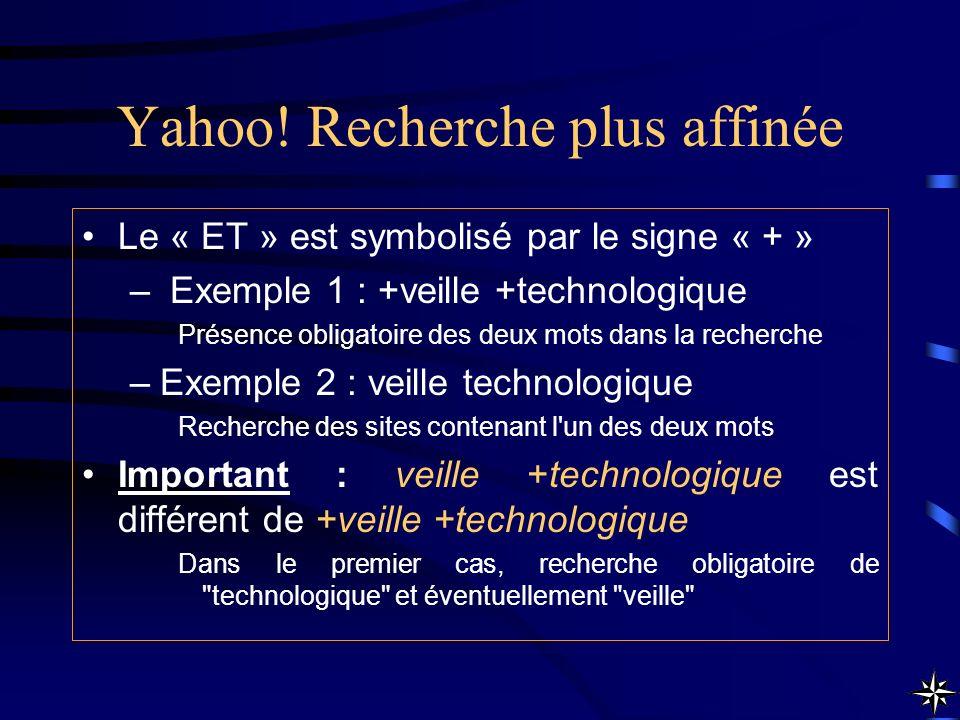 Yahoo! Recherche plus affinée Le « ET » est symbolisé par le signe « + » – Exemple 1 : +veille +technologique Présence obligatoire des deux mots dans