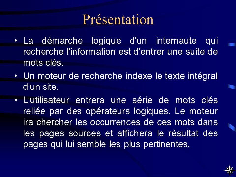 Présentation La démarche logique d'un internaute qui recherche l'information est d'entrer une suite de mots clés. Un moteur de recherche indexe le tex