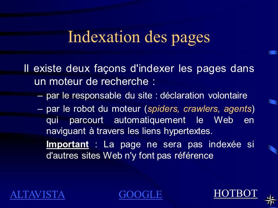 Indexation des pages Il existe deux façons d'indexer les pages dans un moteur de recherche : –par le responsable du site : déclaration volontaire –par