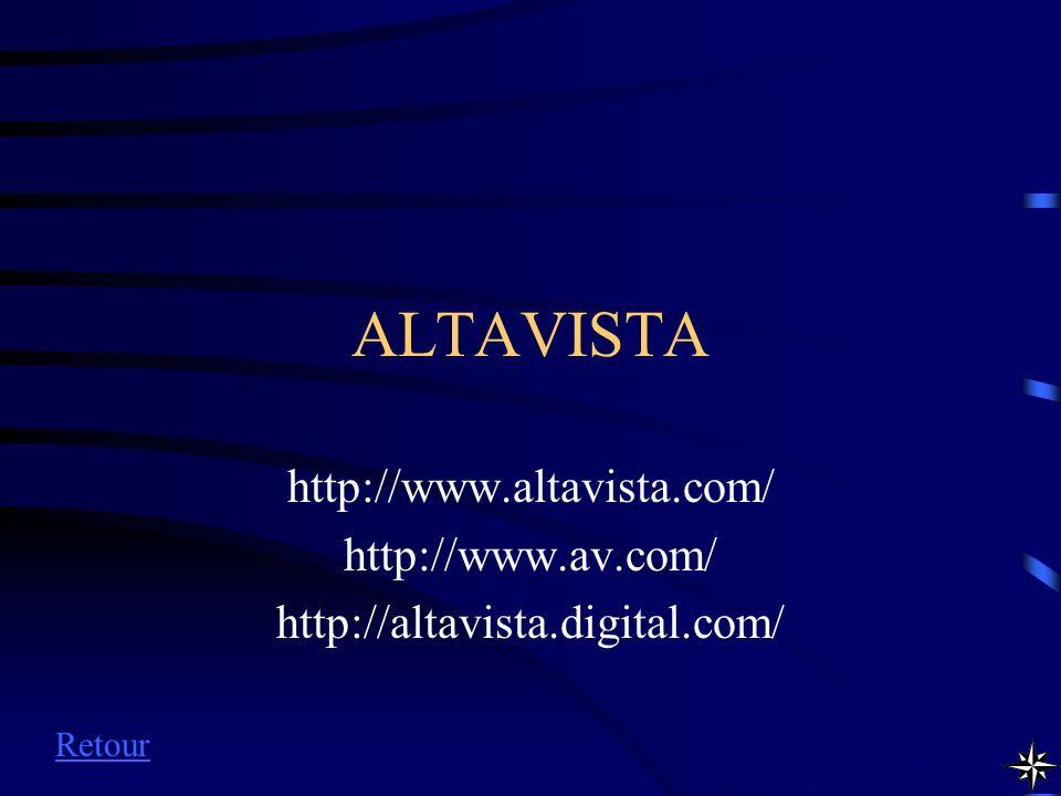ALTAVISTA http://www.altavista.com/ http://www.av.com/ http://altavista.digital.com/ Retour