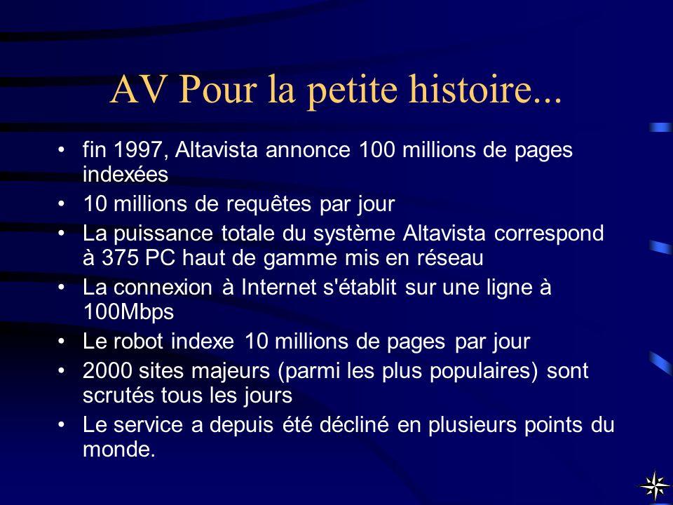 AV Pour la petite histoire... fin 1997, Altavista annonce 100 millions de pages indexées 10 millions de requêtes par jour La puissance totale du systè