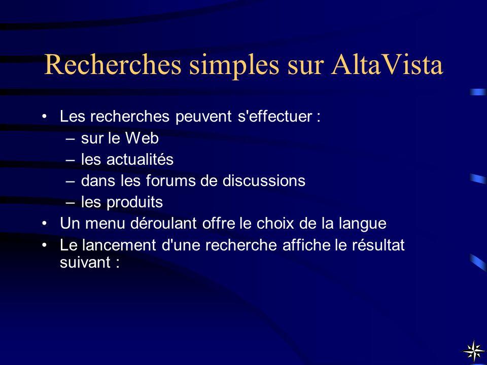 Recherches simples sur AltaVista Les recherches peuvent s'effectuer : –sur le Web –les actualités –dans les forums de discussions –les produits Un men