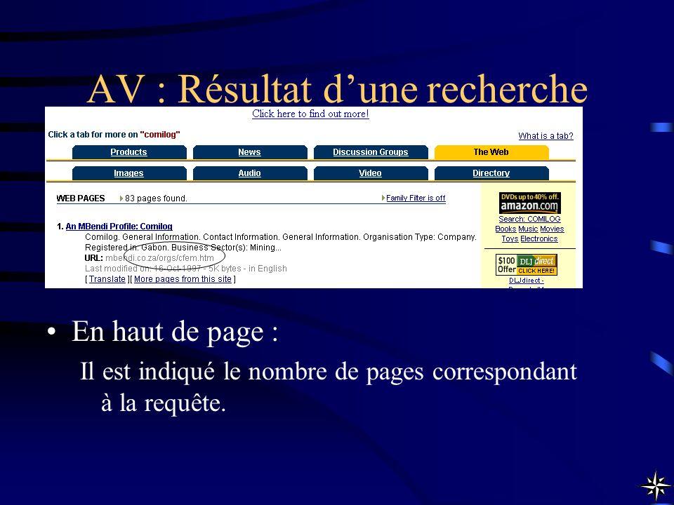 AV : Résultat dune recherche En haut de page : Il est indiqué le nombre de pages correspondant à la requête.