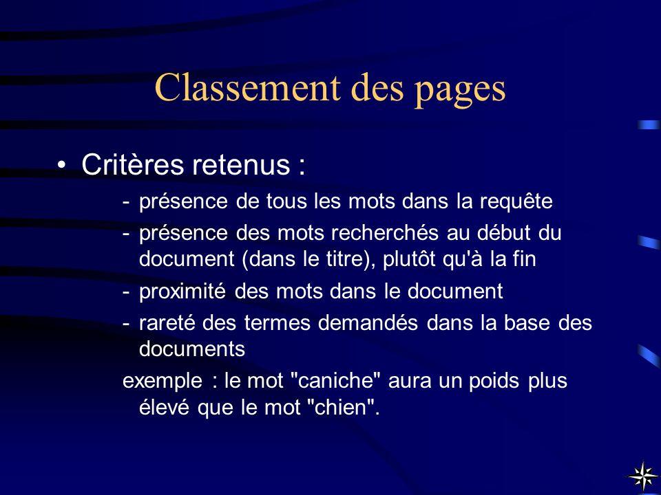 Classement des pages Critères retenus : -présence de tous les mots dans la requête -présence des mots recherchés au début du document (dans le titre),