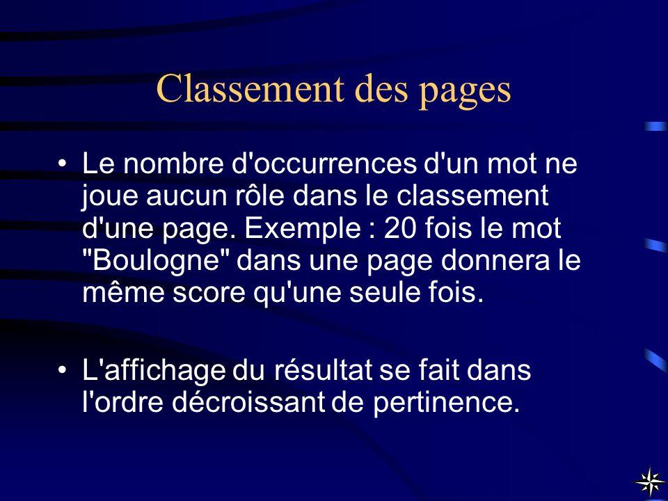 Classement des pages Le nombre d'occurrences d'un mot ne joue aucun rôle dans le classement d'une page. Exemple : 20 fois le mot