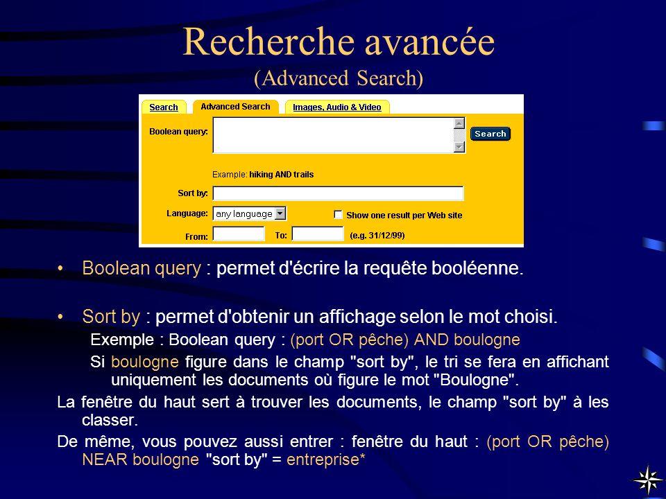 Recherche avancée (Advanced Search) Boolean query : permet d'écrire la requête booléenne. Sort by : permet d'obtenir un affichage selon le mot choisi.