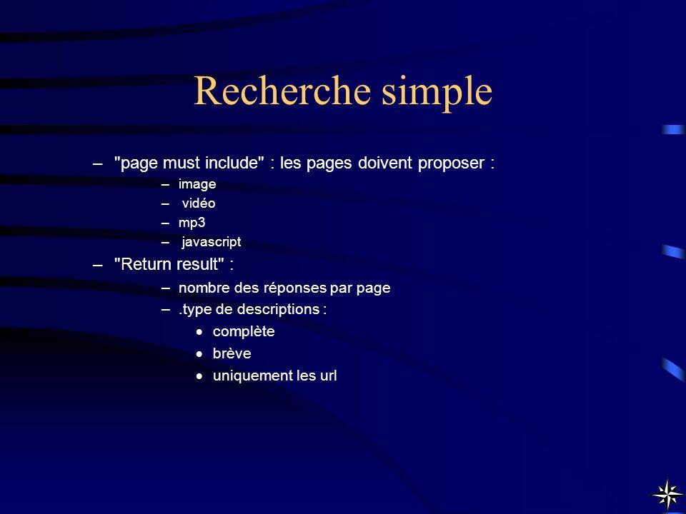 Recherche simple –