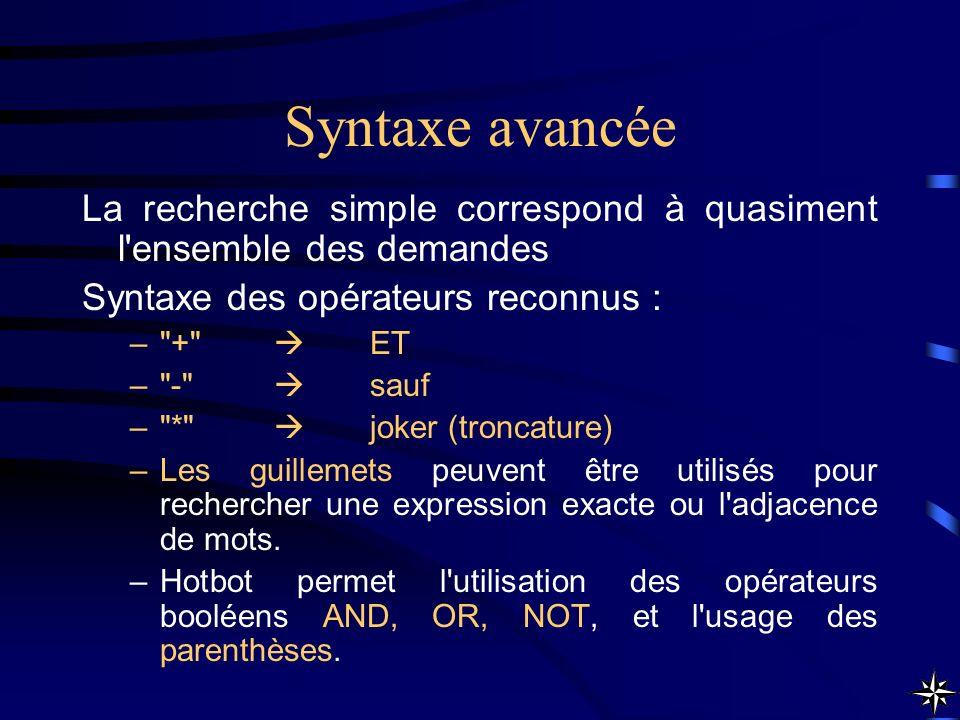 Syntaxe avancée La recherche simple correspond à quasiment l'ensemble des demandes Syntaxe des opérateurs reconnus : –