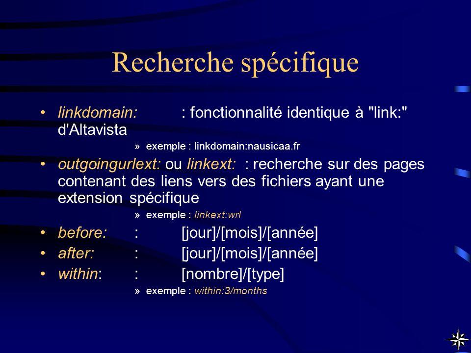 Recherche spécifique linkdomain:: fonctionnalité identique à